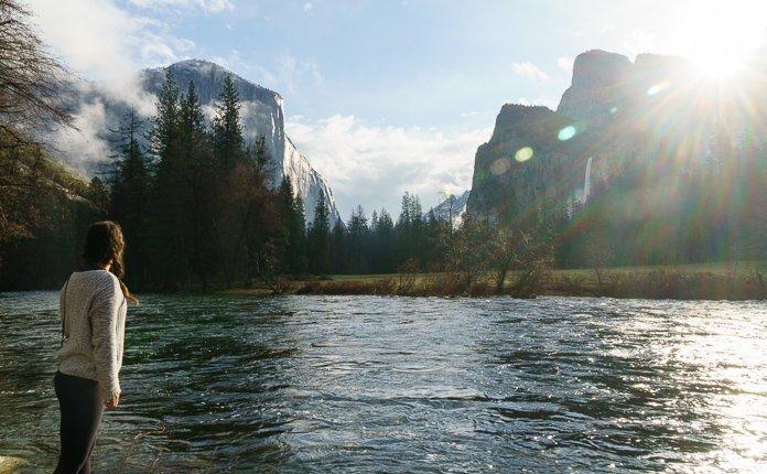 Girl Hiking Yosemite Valley