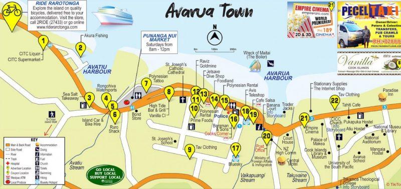 Avarua Rarotonga Map