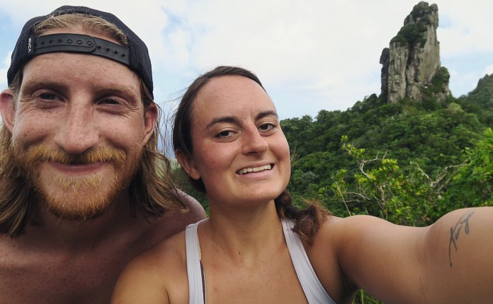 Couple Hiking Rarotonga Needle