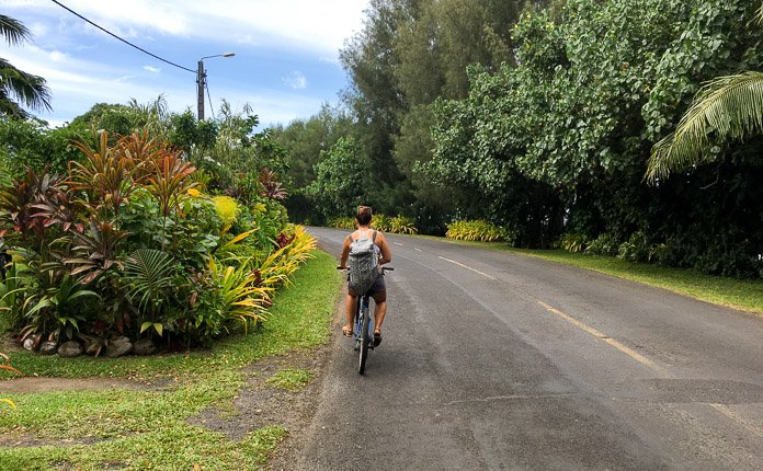 Girl Riding Bicycle Rarotonga