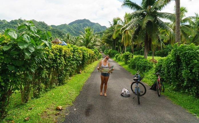 Girl Biking Around Rarotonga