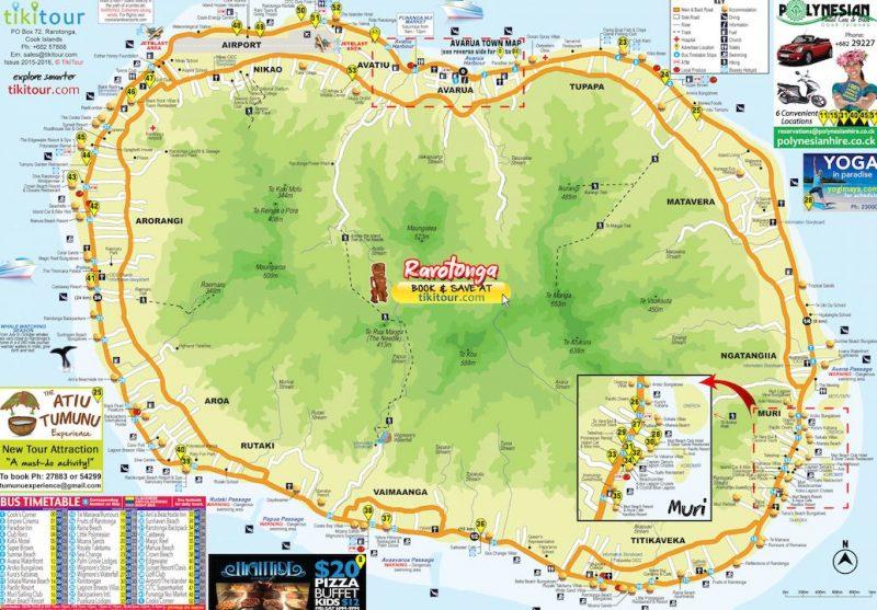 Rarotonga Island Map