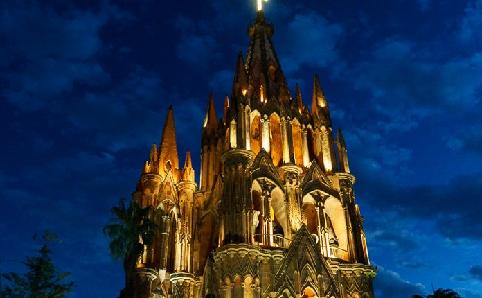 San Miguel de Allende Church Nighttime Mexico