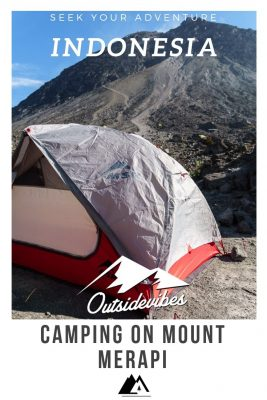 Camping on Mount Merapi Java Indonesia