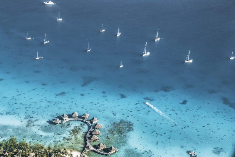 Flying over a Resort in French Polynesia